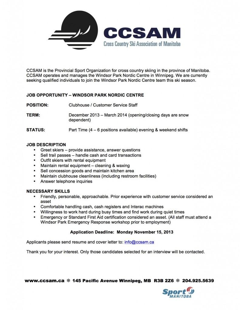 Job notice windsor park nordic centre cross country ski clubhouse staff job notice spiritdancerdesigns Images